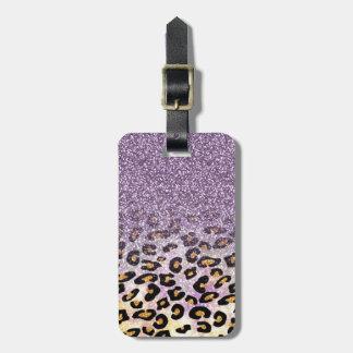 Cute girly trendy purple faux glitter leopard luggage tag