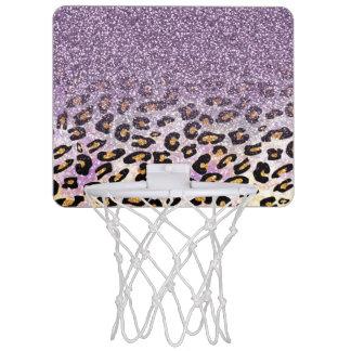 Cute girly trendy purple faux glitter leopard mini basketball hoop