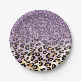 Cute girly trendy purple faux glitter leopard paper plate