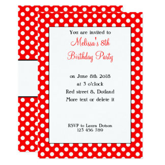Cute Girly Trendy Red White polka dots Bday Invite