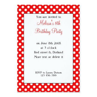 Cute Girly Trendy Red White polka dots Birthday Card