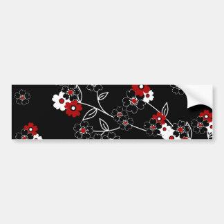Cute girly trendy vintage hand drawn flowers bumper sticker