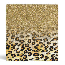 Cute girly trendy yellow gold faux glitter leopard 3 ring binder