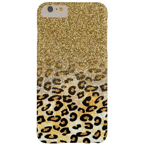 Cute girly trendy yellow gold faux glitter leopard barely there iPhone 6 plus case