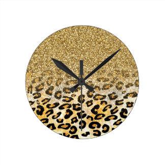 Cute girly trendy yellow gold faux glitter leopard wallclock