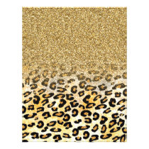 Cute girly trendy yellow gold faux glitter leopard flyer