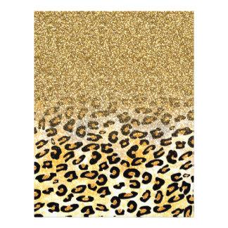 """Cute girly trendy yellow gold faux glitter leopard 8.5"""" x 11"""" flyer"""