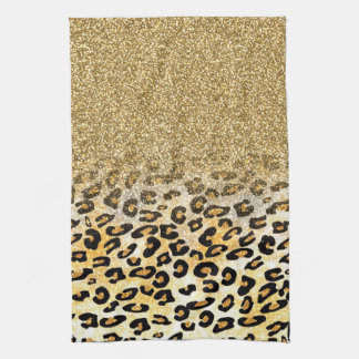 Cute girly trendy yellow gold faux glitter leopard hand towels