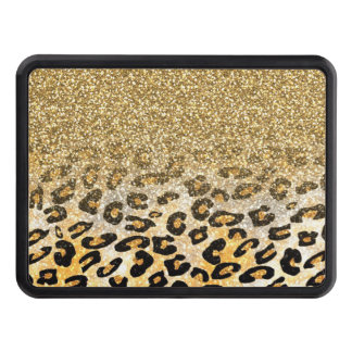 Cute girly trendy yellow gold faux glitter leopard hitch cover
