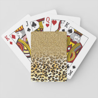 Cute girly trendy yellow gold faux glitter leopard card decks