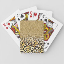 Cute girly trendy yellow gold faux glitter leopard playing cards
