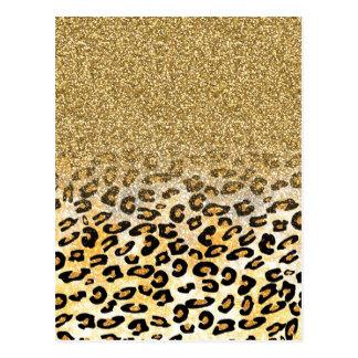 Cute girly trendy yellow gold faux glitter leopard postcard