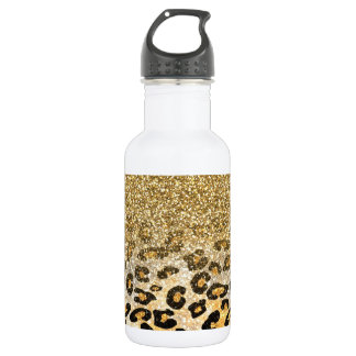 Cute girly trendy yellow gold faux glitter leopard stainless steel water bottle