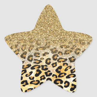 Cute girly trendy yellow gold faux glitter leopard star sticker