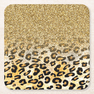 Cute girly trendy yellow gold faux glitter leopard square paper coaster