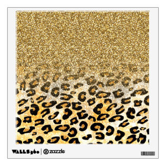 Cute girly trendy yellow gold faux glitter leopard room decal
