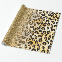 Cute girly trendy yellow gold faux glitter leopard wrapping paper