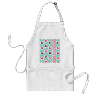 Cute girly turquoise raspberry patterns monogram adult apron