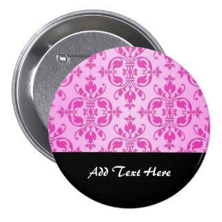 Cute Girly Two Tone Pink Damask 3 Inch Round Button