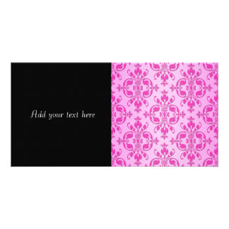 Cute Girly Two Tone Pink Damask Card