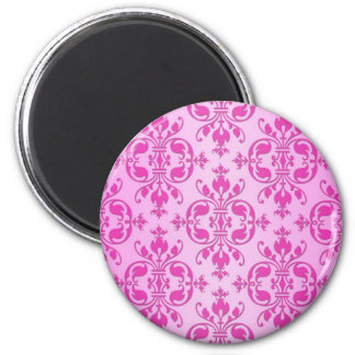 Cute Girly Two Tone Pink Damask Magnet