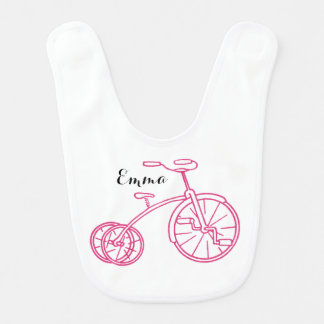 Cute Girly Vintage Pink Tricycle Baby Bib