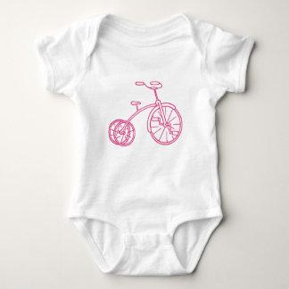 Cute Girly Vintage Pink Tricycle Baby Bodysuit
