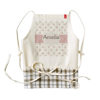 Cute,girly,vintage,rustic,flora,polka dot,pink,fun zazzle HEART apron