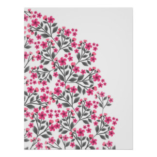 Cute girly watercolors paint floral blossom poster