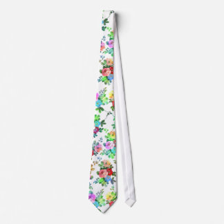 Cute girly watercolors paint roses floral blossom neck tie
