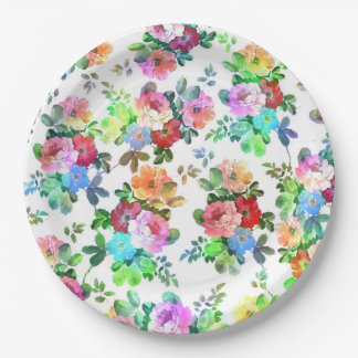 Cute girly watercolors paint roses floral blossom paper plate