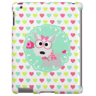 Cute Girly Westie Puppy Pink Mint Hearts Pattern