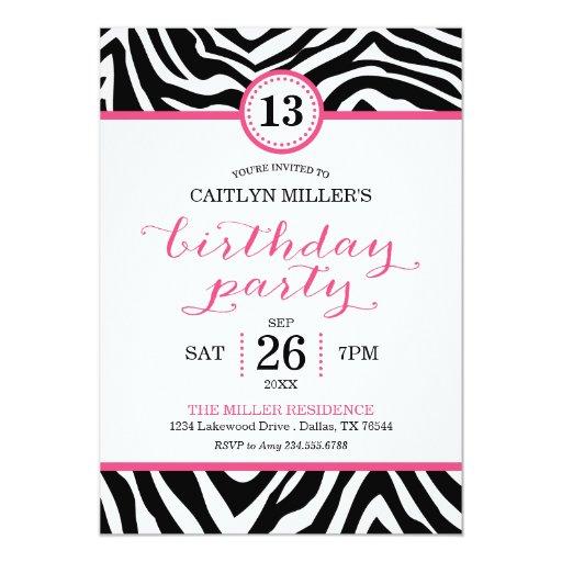 Cute Girly Zebra Print Birthday Party Invitation