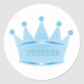 Cute Glitter Baby Blue Crown Prince Stickers