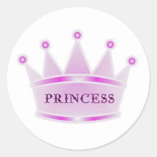 Cute Glitter Pink Tiara Crown Princess Classic Round Sticker