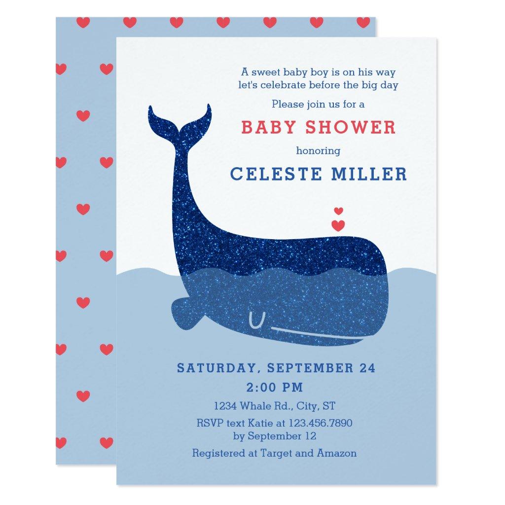 Cute Glitter Whale Baby Shower Invitation