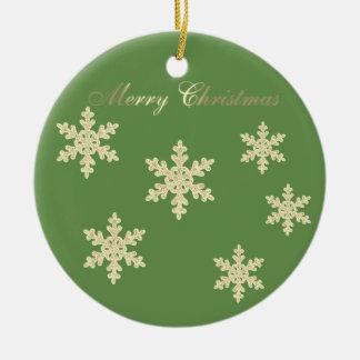 Cute  Glittery Faux Gold Christmas Tree,Snowflakes Ceramic Ornament
