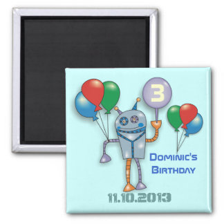 Cute Glossy Robot Personalized Fridge Magnets