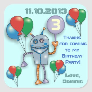 Cute Glossy Robot Personalized Party Stickers