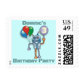Cute Glossy Robot Personalized Postage Stamps