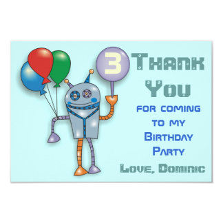Cute Glossy Robot Personalized Thank You Cards
