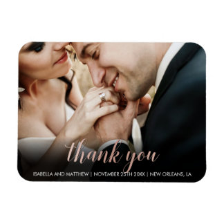 Cute Glossy Rose Gold Thank You Photography Magnet