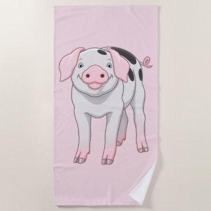 Cute Gloucestershire Old Spots Pig Beach Towel