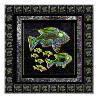 Cute Glowing Fish Family Posters