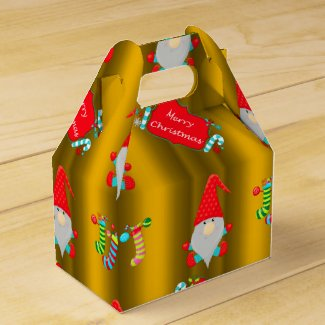 Cute Gnomes Gold Christmas Favor Box