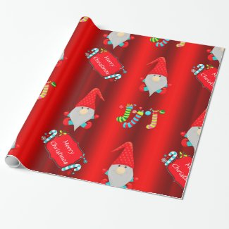 Cute Gnomes Red Christmas Wrapping Paper
