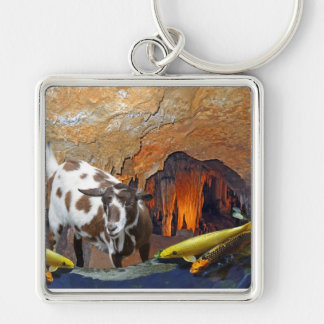 Cute Goat and Goldfish in a Cave Keychain