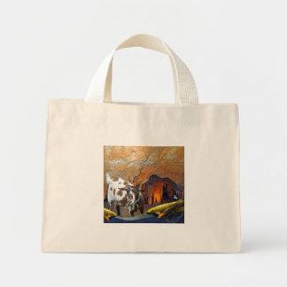 Cute Goat and Goldfish in a Cave Mini Tote Bag