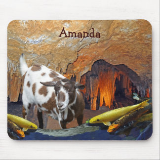 Cute Goat and Goldfish in a Cave Mouse Pad