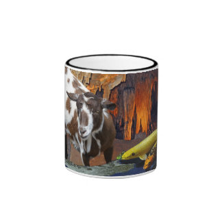 Cute Goat and Goldfish in a Cave Ringer Mug